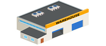 Roofed warehouse